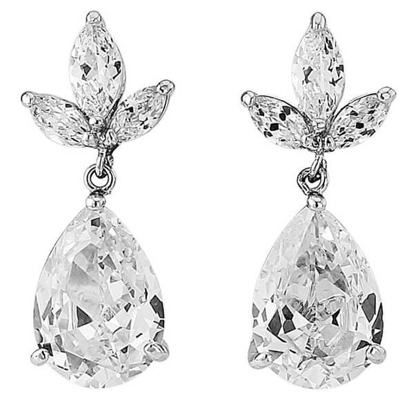 Crystal Leaf Drop Wedding Earrings Vintage Bridal Accessories
