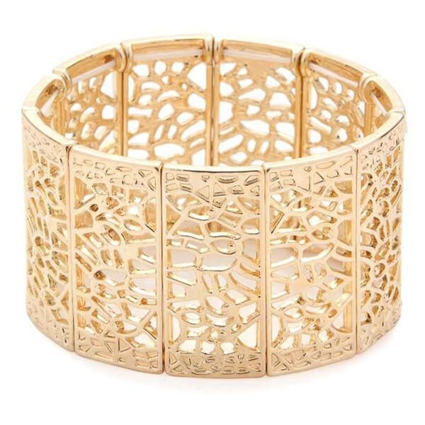 a406d97d672d3 Filigree gold vintage bridal cuff bracelet CZ022